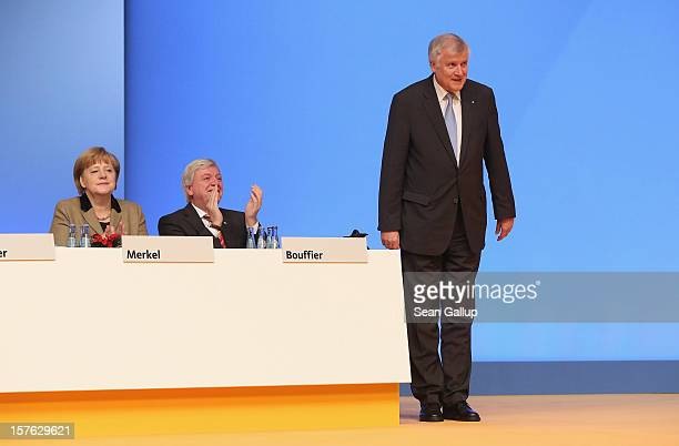 Horst Seehofer Chairman of the Christian Social Union the Bavarian sister party of the German Christian Democratic Union bows to delegates after he...