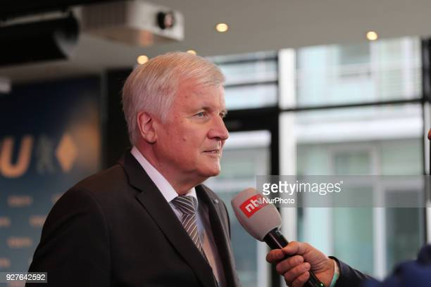Horst Seehofer gives an interview to NTV in Munich Germany on 5 March 2018 The Christian Social Union anounced its new federal ministers the deputy...