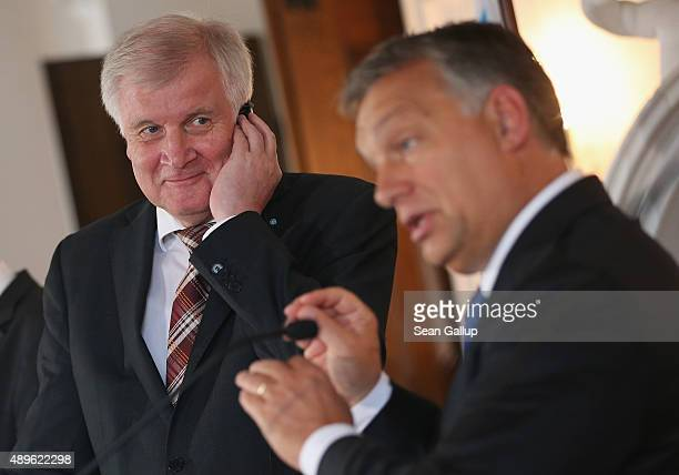 Horst Seehofer Governor of Bavaria and head of the Bavarian Christian Democrats and Viktor Orban Prime Minister of Hungary speak to the media at a...