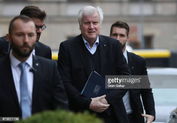 Horst Seehofer Governor of Bavaria and head of the Bavarian Christian Democrats arrives for yet another round of preliminary coalition talks for the...
