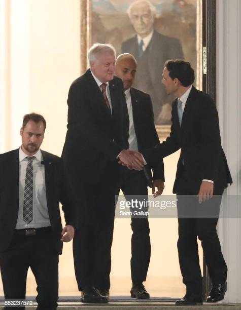 Horst Seehofer Governor of Bavaria and leader of the Bavarian Christian Democrats departs following a meeting of the CSU the German Christian...