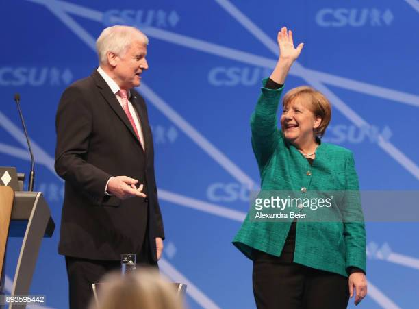 Horst Seehofer Governor of Bavaria and leader of the Bavarian Christian Social Union gestures as German Chancellor and leader of the German Christian...