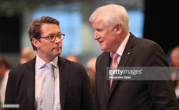 Horst Seehofer Governor of Bavaria and leader of the Bavarian Christian Social Union talks to Andreas Scheuer CSU General Secretary at the CSU party...