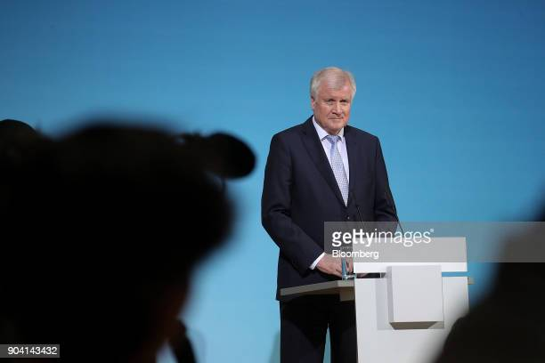 Horst Seehofer leader of the Christian Social Union party looks on during a news conference following overnight coalition negotiations at the Social...