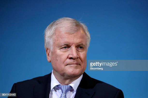 Horst Seehofer leader of the Christian Social Union party looks on during a news conference following overnight coalition negotiations at the SPD...