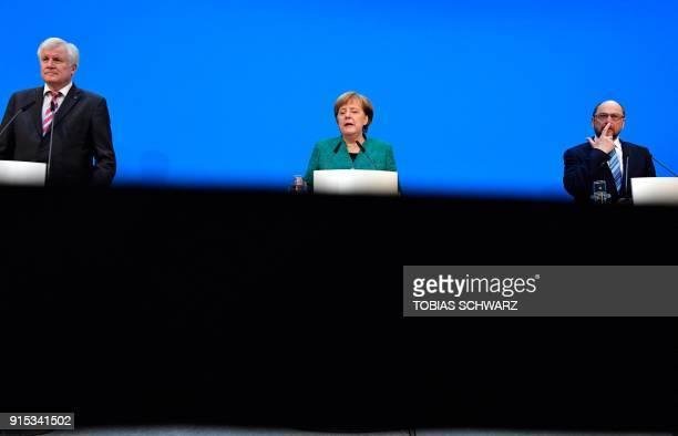 Horst Seehofer leader of the conservative Christian Social Union German Chancellor Angela Merkel leader of the conservative Christian Democratic...
