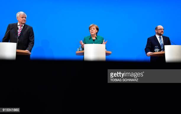 TOPSHOT Horst Seehofer leader of the conservative Christian Social Union German Chancellor Angela Merkel leader of the conservative Christian...