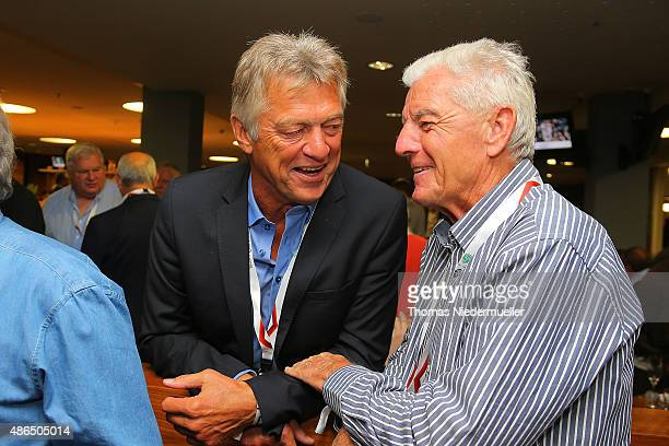 Horst Trimhold Kurt Kluespiess and Erich Ribbeck members of the Club of Former National Players are seen prior to the EURO 2016 Qualifier match...