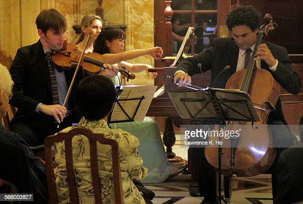 Horszowski Piano Trio in their LA debut at the Doheny Mansion in Mount St Mary College on May 24 2013 The young Trio Jesse Mills violin Raman...