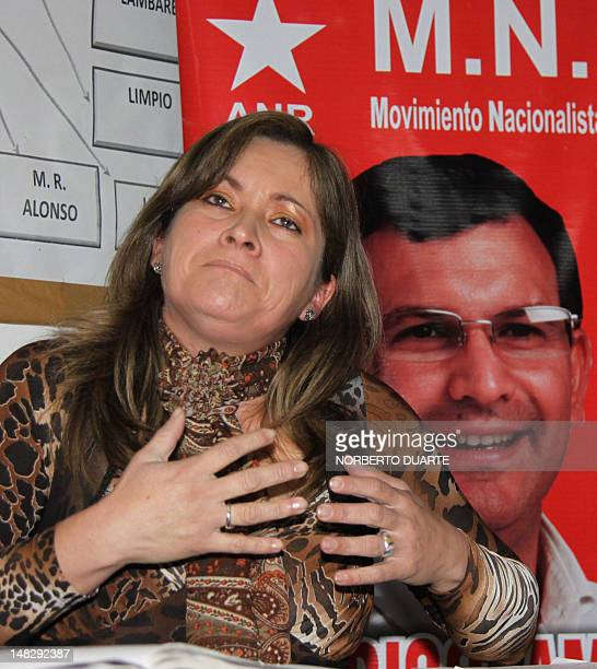 Hortencia Moran who claimed on August 2010 her threeyearold as son of now former Paraguayan President Fernando Lugo speaks during the launching of...