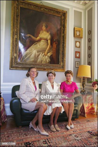 Hortense Josephine and Marie Tascher de la Pagerie empress Josephine's last descendants in their country estate In front of a portrait of Josephine...