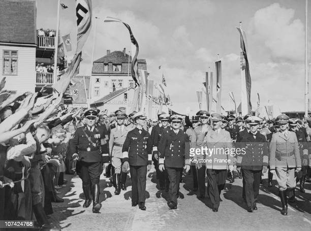 Horthy And Hitler Welcomed By The Crowd At Helgoland In Germany On August 24Th 1938