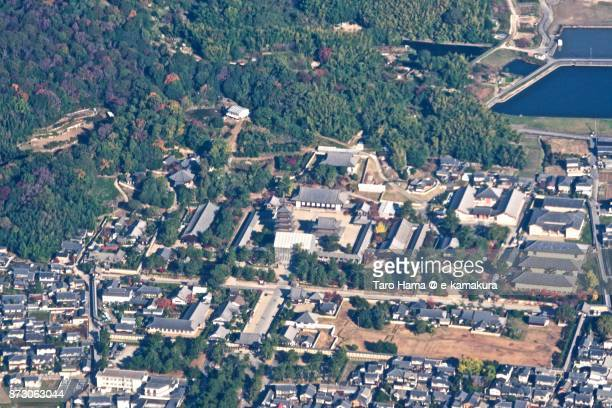 Horyuji Temple in Ikaruga town in Nara prefecture in Japan daytime aerial view from airplane