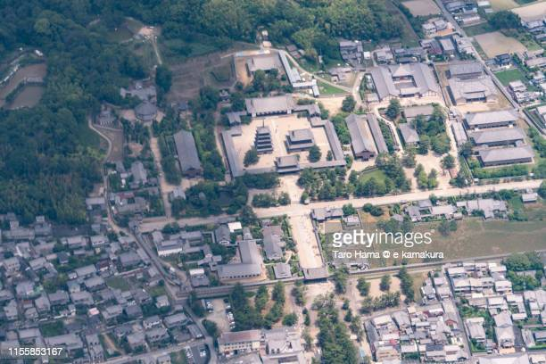 horyuji temple in japan aerial view from airplane - asuka stock pictures, royalty-free photos & images