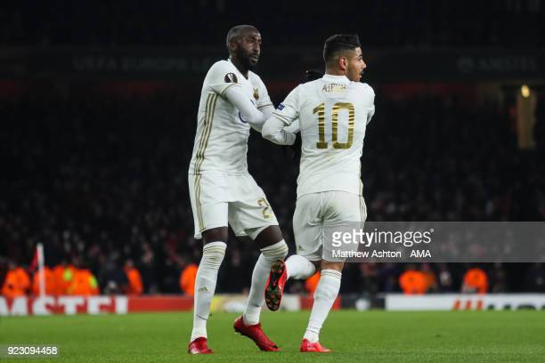 Hosam Aiesh of Ostersunds FK celebrates after Calum Chambers of Arsenal scores and own goal to make it 01 during UEFA Europa League Round of 32 match...