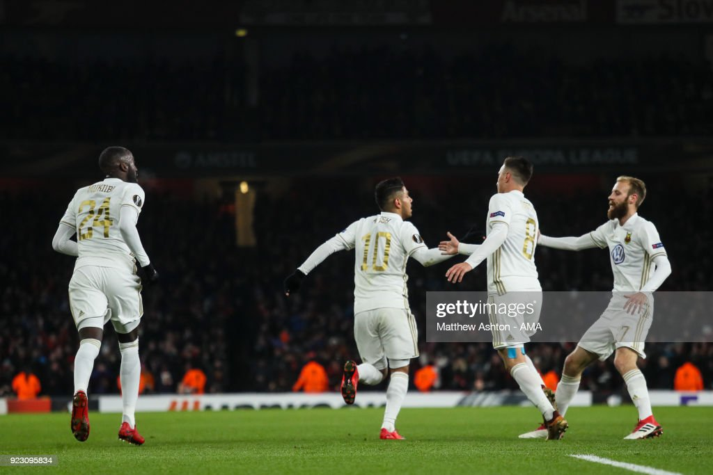 Hosam Aiesh of Ostersunds FK celebrates after Calum Chambers of Arsenal scores and own goal to make it 0-1 during UEFA Europa League Round of 32 match between Arsenal and Ostersunds FK at the Emirates Stadium on February 22, 2018 in London, United Kingdom.