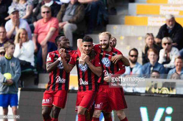 Hosam Aiesh of Ostersunds FK celebrates after scoring to 02 during the Allsvenskan match between GIF Sundsvall and Ostersunds FK at Idrottsparken on...
