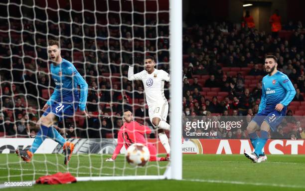 Hosam Aiesh of Ostersunds FK scores the first Ostersunds goal during UEFA Europa League Round of 32 match between Arsenal and Ostersunds FK at the...