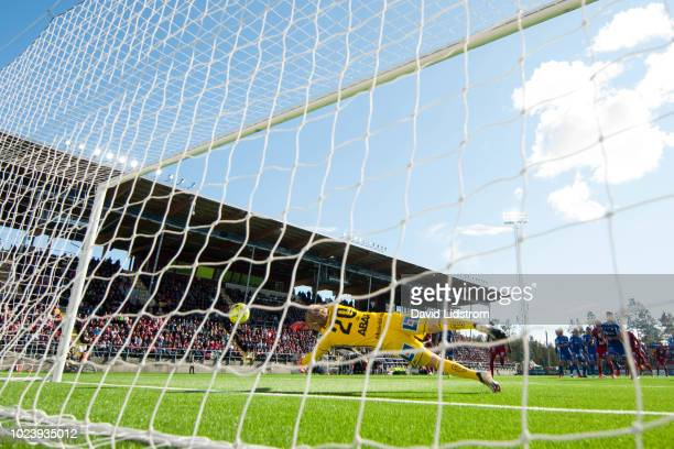 Hosam Aiesh of Ostersunds FK shoots a goal during the Allsvenskan match between Ostersunds FK and GIF Sundsvall at Jamtkraft Arena on August 26 2018...