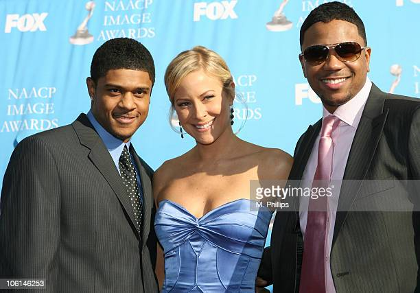 Hosea Chanchez Brittany Daniel and Pooch Hall during 38th Annual NAACP Image Awards Arrivals at Shrine Auditorium in Los Angeles California United...
