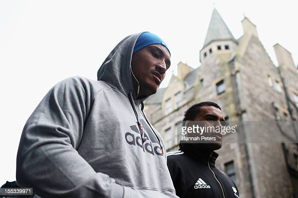 Hosea Gear and Liam Messam of the All Blacks walk through the streets of Edinburgh on November 3 2012 in Edinburgh Scotland