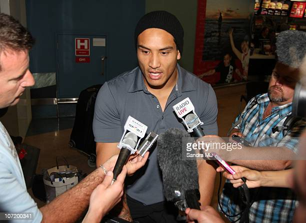 Hosea Gear of the All Blacks is interviewed on his arrival home at Auckland International Airport following the New Zealand All Blacks successful...