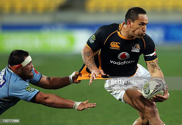 Hosea Gear of Wellington is tackled by Justin Davies of Northland during the round 8 ITM Cup match between Wellington and Northland at Westpac...