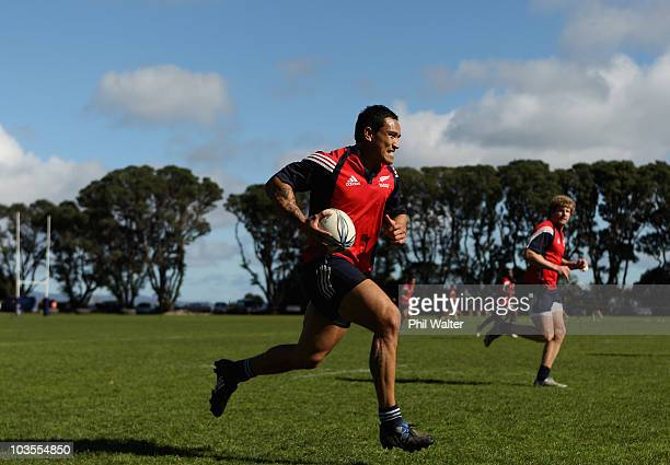 Hosea Gear runs with the ball during a New Zealand Sevens training session ahead of the 2010 Commonwealth Games at Auckland Grammar on August 24,...
