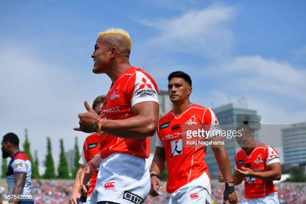 Hosea Saumaki of the Sunwolves celebrates scoring his side's fifth try with his team mates during the Super Rugby match between Sunwolves and Reds at...
