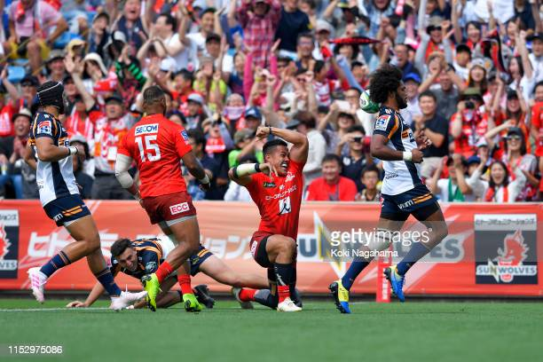 Hosea Saumaki of the Sunwolves celebrates scoring his side's first rtry during the Super Rugby match between Sunwolves and Brumbies at the Prince...