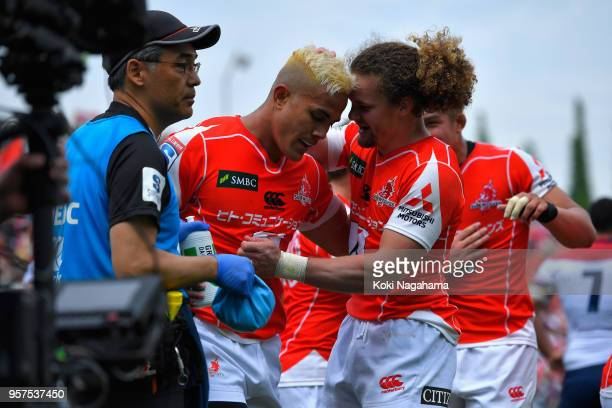 Hosea Saumaki of the Sunwolves celebrates scoring his side's third try with his team mates during the Super Rugby match between Sunwolves and Reds at...