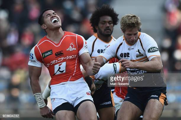Hosea Saumaki of the Sunwolves reacts after knocking the ball on during the Super Rugby round 2 match between Sunwolves and Brumbies at the Prince...