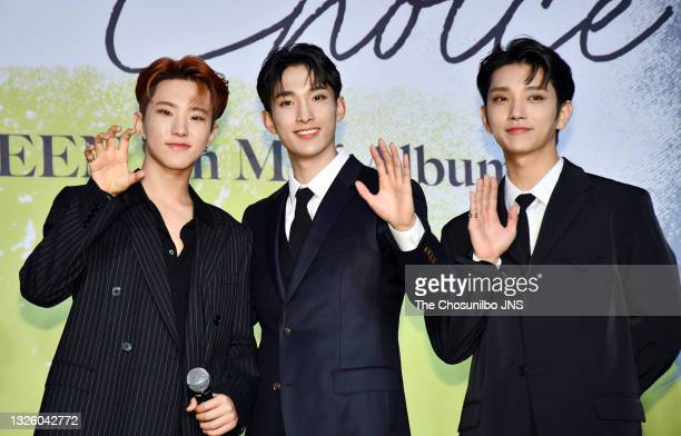 Hoshi, DK, Joshua of SEVENTEEN attend SEVENTEEN's 8th Mini Album 'Your Choice' Release Press Conference at Intercontinental Seoul Coex Harmony...