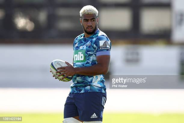 Hoskins Sotutu during a Blues Super Rugby training session at Blues HQ on June 23 2020 in Auckland New Zealand