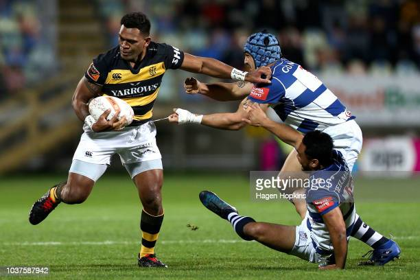 Hoskins Sotutu of Auckland looks on during the round six Mitre 10 Cup match between Taranaki and Auckland at Yarrow Stadium on September 22 2018 in...