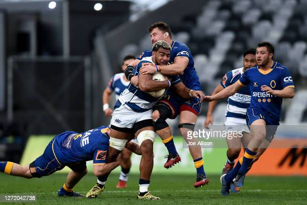 Hoskins Sotutu of Auckland runs into the defence during the round 1 Mitre 10 Cup match between Otago and Auckland at Forsyth Barr Stadium on...