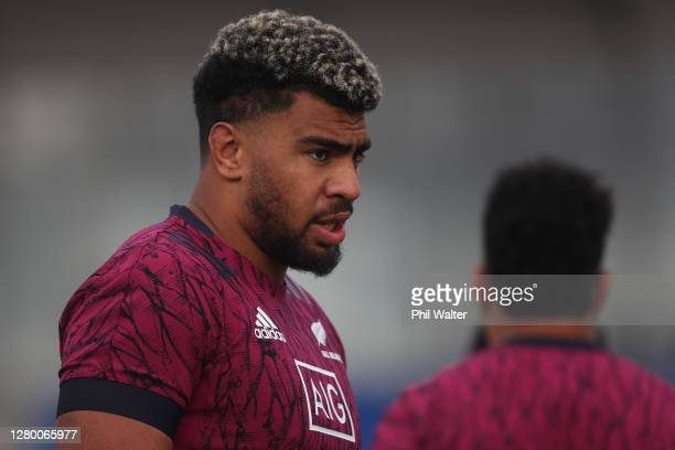 Hoskins Sotutu of New Zealand during a New Zealand All Blacks training session at Trusts Stadium on October 14, 2020 in Auckland, New Zealand.