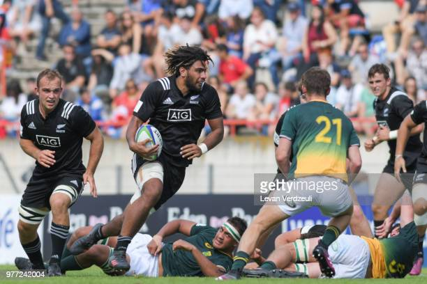 Hoskins Sotutu of New Zealand runs with ball during World Rugby Under 20 Championship 3rd Place Play 0ff between South Africa and New Zealand on June...