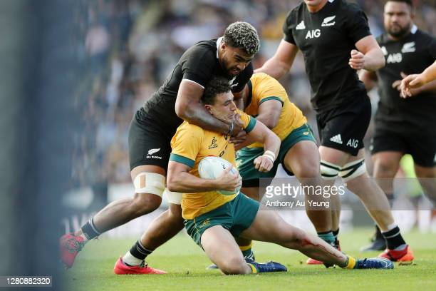 Hoskins Sotutu of the All Blacks tackles Tom Banks of the Wallabies during the Bledisloe Cup match between the New Zealand All Blacks and the...