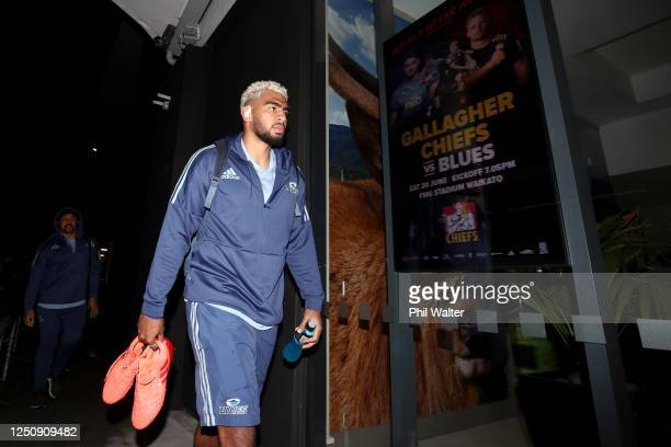 Hoskins Sotutu of the Blues arrives ahead of the round 2 Super Rugby Aotearoa match between the Chiefs and the Blues at FMG Stadium Waikato on June...