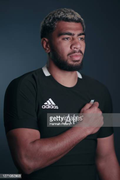Hoskins Sotutu poses during a New Zealand All Blacks portrait session on September 06 2020 in Wellington New Zealand