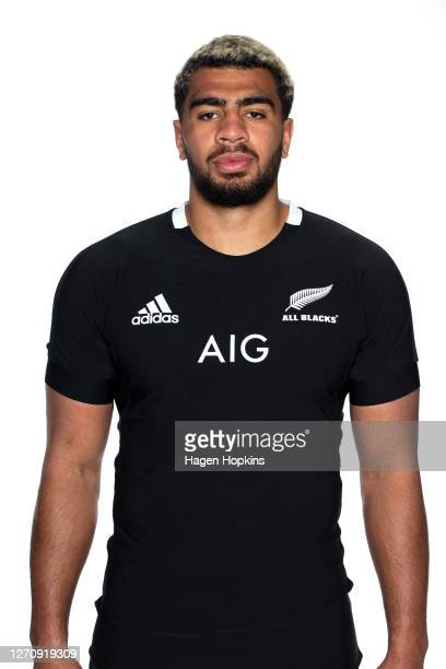 Hoskins Sotutu poses during an All Blacks headshots session on September 06 2020 in Wellington New Zealand