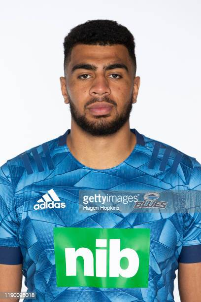 Hoskins Sotutu poses during the Blues 2020 Super Rugby headshots session on November 25, 2019 in Auckland, New Zealand.