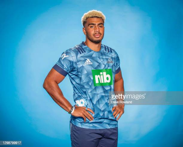 Hoskins Sotutu poses during the Blues 2021 Super Rugby Aotearoa headshots session at Blues HQ on January 25, 2021 in Auckland, New Zealand.