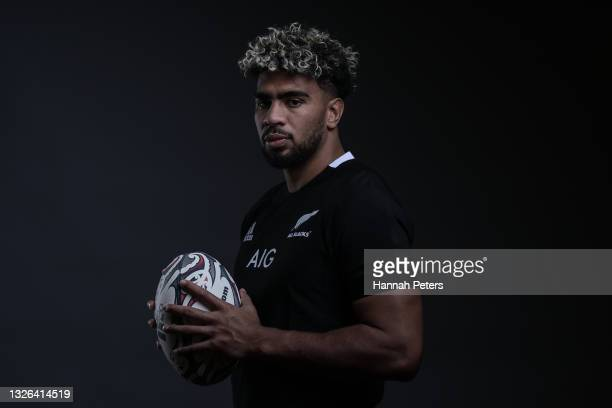 Hoskins Sotutu poses during the New Zealand All Blacks player portrait session at the Heritage on June 23, 2021 in Auckland, New Zealand.