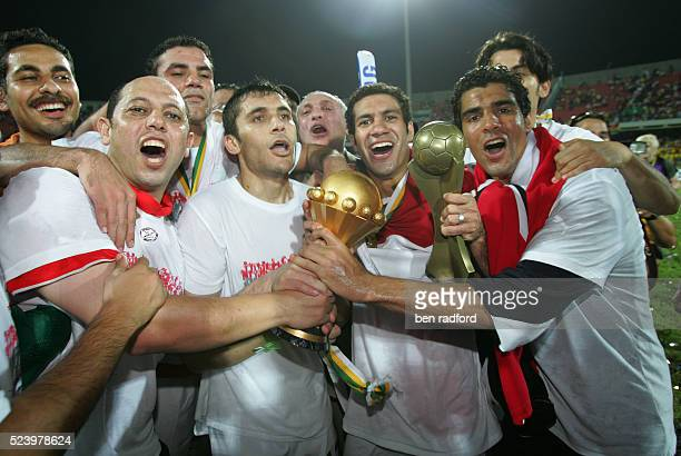 Hosny Abdrabou Abdel Moteleb and Captain Ahmed hasan Kamel of Egypt celebrates winning the Final of the 2008 African Cup of Nations between Cameroon...