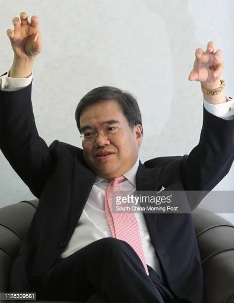 Hospital Authority chairman Anthony Wu Tingyuk gestures during an interview 22MAR12