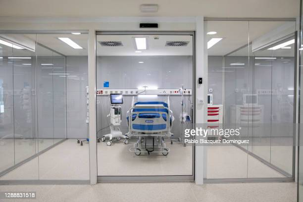 Hospital bed is placed at a intensive care unit during the inauguration day at Nurse Isabel Zendal Hospital at Valdebebas neighbourhood during the...