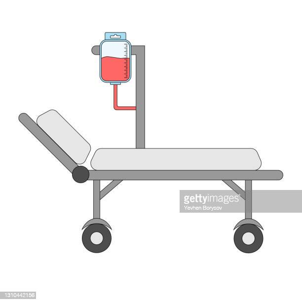 hospital bed with medical equipments, intensive care, resuscitation - symbol stock pictures, royalty-free photos & images