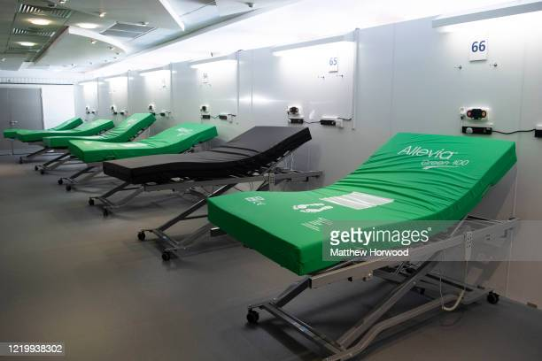 Hospital beds on a ward at the new Dragon's Heart Hospital on April 20, 2020 in Cardiff, Wales. The Dragon's Heart hospital is a 2000-bed field...